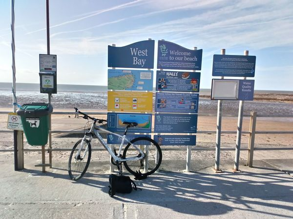 Beach notice boards of Westgate Sea City Beach Bicycle Sand Summer Sky Horizon Over Water