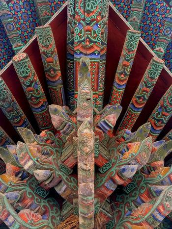 Bulguksa Temple, outside Gyeongju, South Korea Ancient Buddhism Bulguksa Bulguksa Temple Close-up Cultures Day History Indoors  Korea Multi Colored No People Pattern South Korea Temple Tradition