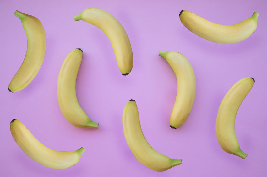 Banana Textured  Background Fresh Fruits Large Group Of Objects Pink Color Yellow