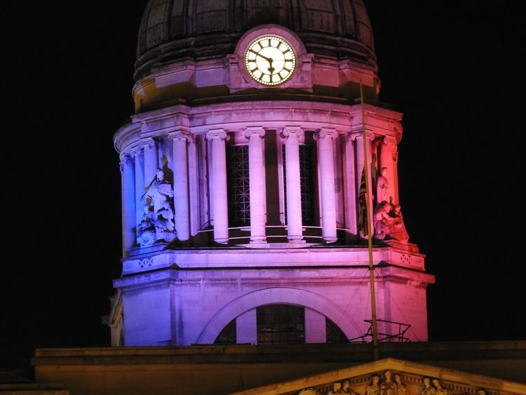 Nottingham dome lit up as Tricolor in support of victims of the Paris attacks 2015
