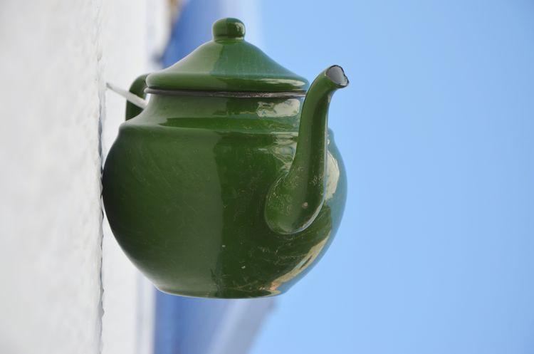 Wall Decoration Ceramics Tea Drink Teapot Teatime Green Color Close-up Food And Drink