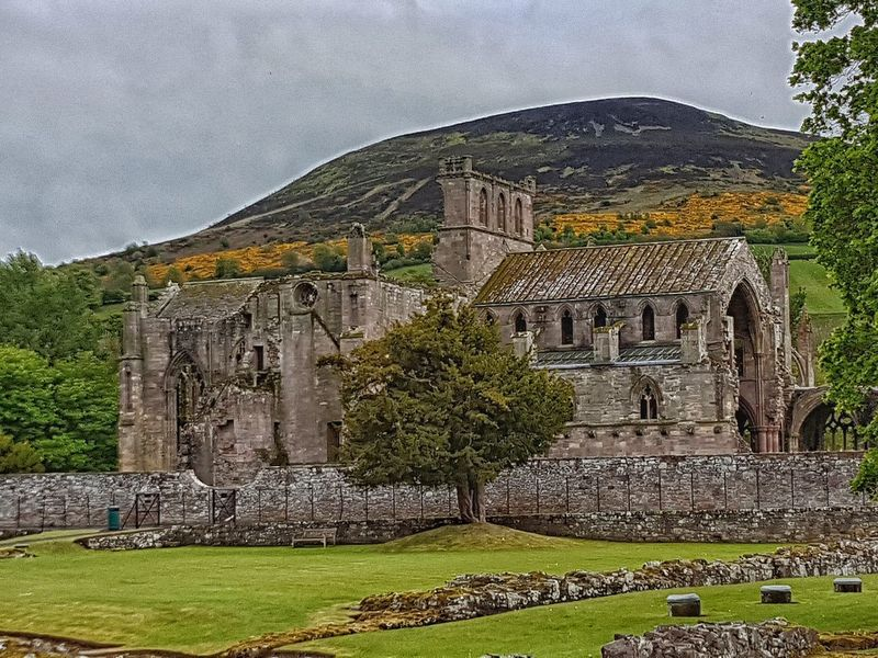 Old Ruin History Ancient Outdoors Building Exterior Landscape EyeEm Gallery Landscape_Collection Eye4photography  Tranquility Tranquil Scene Architecture Church Religion Architecture_collection ruins of melrose abbey against a backdrop of the eildon hills.