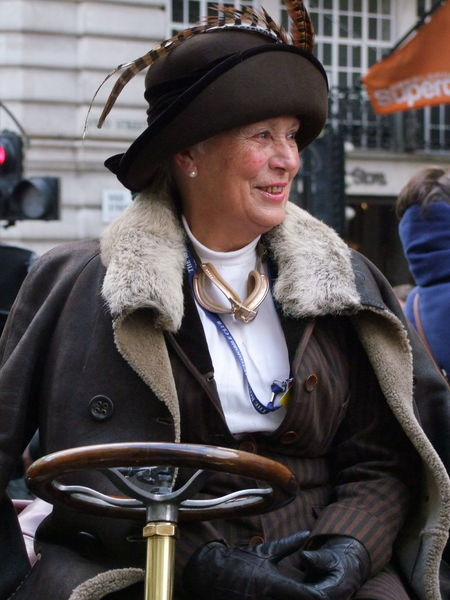Contestant at London to Brighton Vintage Car Rally Adult Capital City Car Rally City Close Up Composition Contestant Full Frame Fun GB Hat London London To Brighton Vintage Car Rally Mature Woman One Person One Woman Only Outdoor Photography Period Costume Smiling Smiling Face Tourist Attraction  Tourist Destination Uk Vintage Car Waist Up