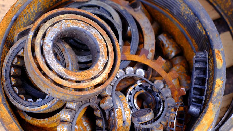 Close-up of rusty machine part of car