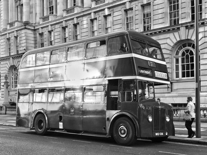 Transportation Mode Of Transport Building Exterior Land Vehicle Bus JoMo Photo Blackandwhite Black And White Liverpool IPhoneography Bus Stop Occupation Real People Architecture Day Built Structure Men Outdoors City People