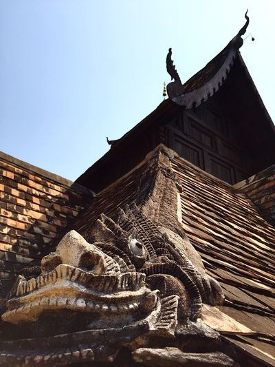Architecture Built Structure Building Exterior Low Angle View Travel Destinations Clear Sky History Outdoors Sculpture Sky Ancient No People Day Statue Ancient Civilization Architecture Spirituality Buddhism Thailand Timeless Chiang Mai Chiang Mai | Thailand Temple Statue Low Angle View