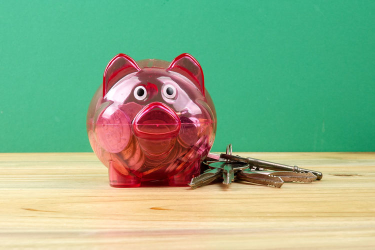 Piggy bank on wooden table. House saving concept Green Piggy Bank Concept Day Indoors  No People Property Saving Small House In The Woods