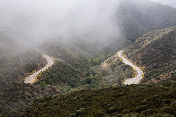 High Angle View Of Road Between Forest