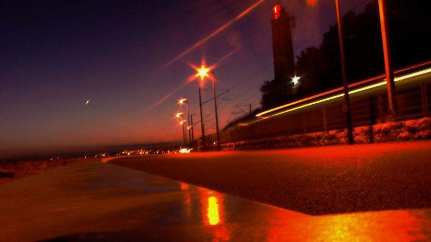 Night Illuminated Red No People Reflection Outdoors City Architecture Sky Movement Photography Movement Light Movement
