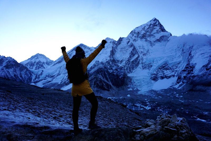 The feeling of freedom! Top Of The World Mountains Landscape Trekking Himalayas Sunset Leisure Activity Mountain Real People Winter Lifestyles Sky #FREIHEITBERLIN Human Arm One Person Beauty In Nature Mountain Range Snow Scenics - Nature Standing Cold Temperature Rear View Nature Full Length Arms Raised Snowcapped Mountain