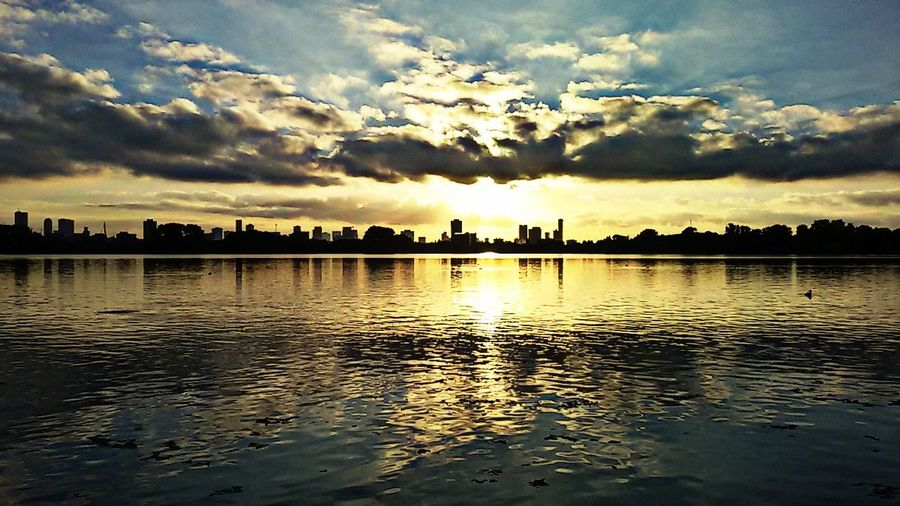 Sunset Reflection Sky Cloud - Sky Nature Water Outdoors Beauty In Nature City Architecture Urban Skyline Cityscape Sun Light And Shadow Reflections Skycolours Colors Holland Reflection Lake Lake Silhouette Street Photography Going Around The City Travelling Sunset Silhouettes