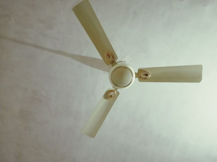Low angle view of fan hanging on ceiling