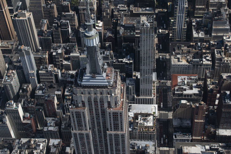 Aerial view of empire state building in city