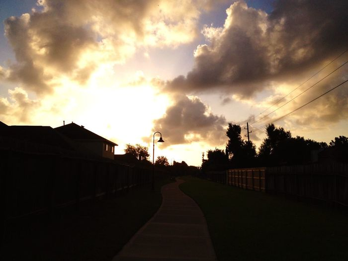 Chemo Day 13 Morning Walk Beautiful Day Good Days  Pathway Sunrise Over Pathway Sun Breaking Through Clouds Curved Path