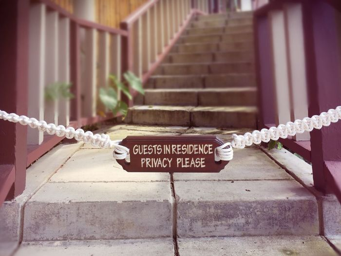 Text No People Close-up Private Residence Guest Guests Hotel Villa Stairs Stairways Privacy Privacyplease Place Of Heart