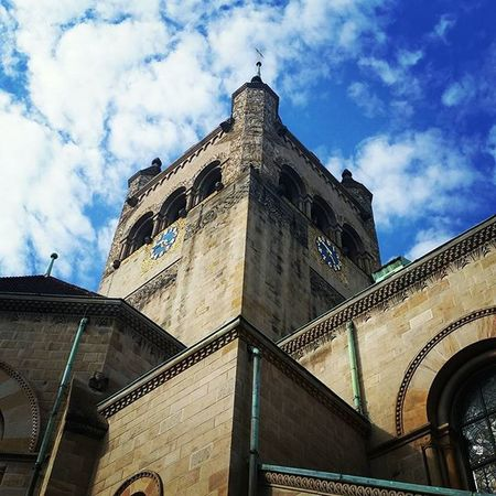 I love this church building Stleonards Basel Switzerland Lines Straight Corner Clock Bells Churchyard Church Bluesky Blue Clouds Scatteredclouds Symmetry Lines Linework