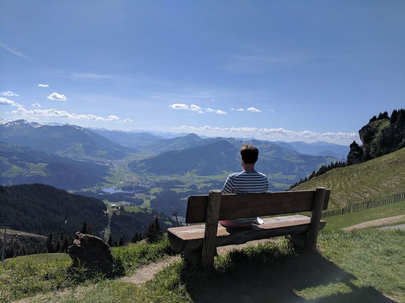 One Man Only Mountain One Person Relaxation Nature Mountain Range Sky Outdoors Adult Sitting Day Nature Freshness Beauty In Nature Landscape Epic Teampixel Tranquility Contemplating Beauty Conteplation Kitzbühel Austria Mountains Serenety Picturesque