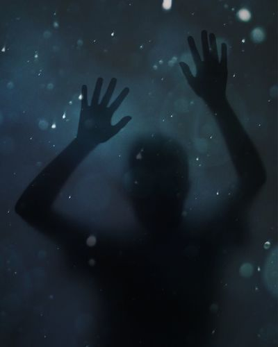 Lost in Space Dark Space Human Hand Hand Real People One Person Glass - Material Silhouette Transparent Night