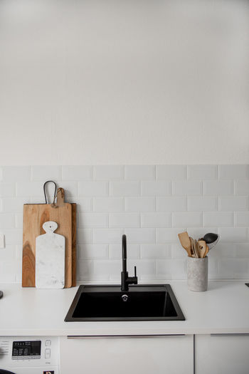 High angle view of sink at kitchen