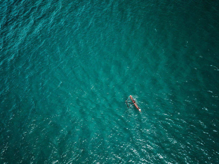 High angle view of person boating in sea