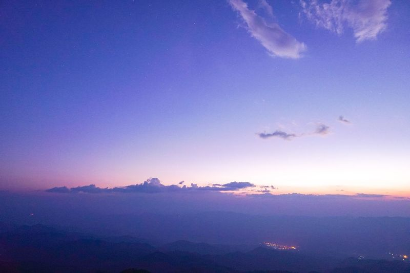 Twilight sky above the mountains.The sky looks so lonely Mist Beauty In Nature Tranquility Peacful Horizon Twilight Sky Scenics - Nature Beauty In Nature Tranquil Scene Water Tranquility Dusk Outdoors Purple Idyllic No People Cloud - Sky Blue Nature Sunset Space