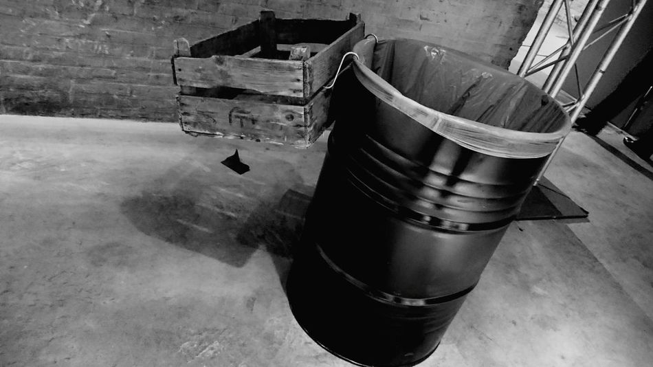 Dustbin with Crate Sugar Factory Halfweg Netherlands Urbexphotography Urbex Monochrome Black And White From My Point Of View From Above  Waste (c) 2016 Shangita Bose All Rights Reserved The Architect - 2016 EyeEm Awards The Photojournalist - 2016 EyeEm Awards Perpective