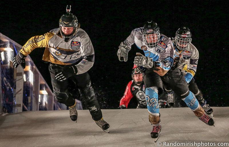 Contestants at Saturday night's Redbullcrashedice Belfast Under Pressure RedBull Ice Skating Ireland