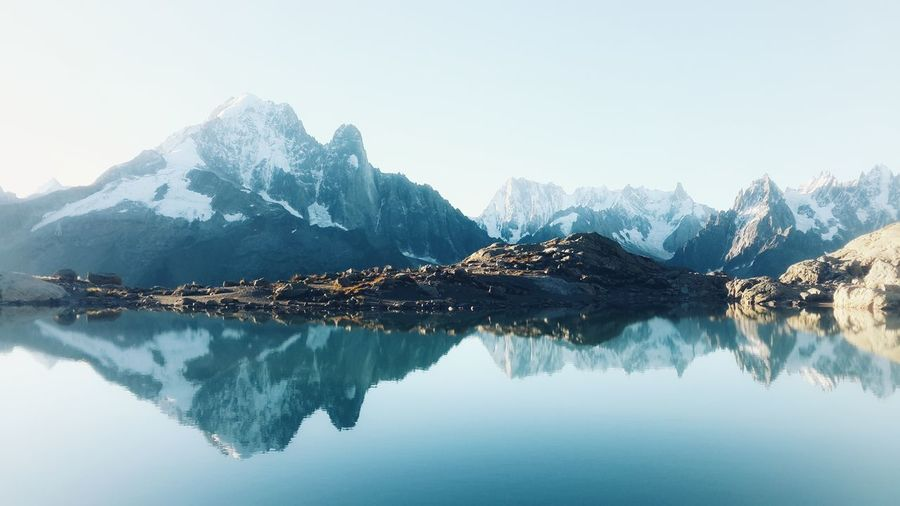 Reflection of snowcapped mountains and lake against sky