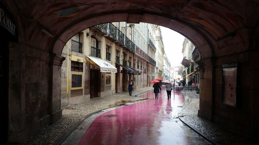 Urbanphotography Urban Geometry Lisboa City Water Arch Wet Architecture Built Structure Archway Passage Passageway Historic Arched Stories From The City