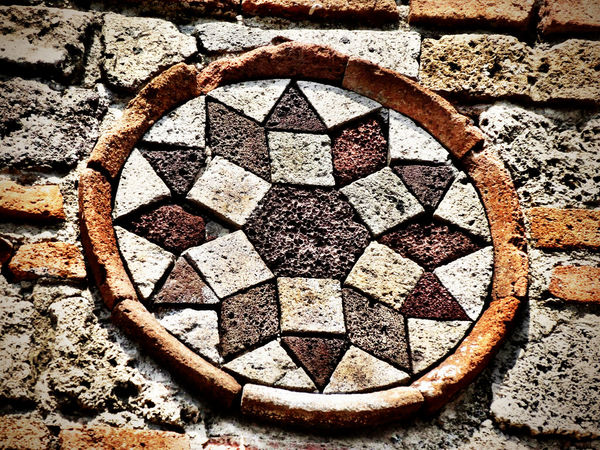 Church Pompéi Rosone Geometric Shape Circle No People Day Pattern Design Solid Outdoors Backgrounds Wall - Building Feature Wall Nature Stone Material