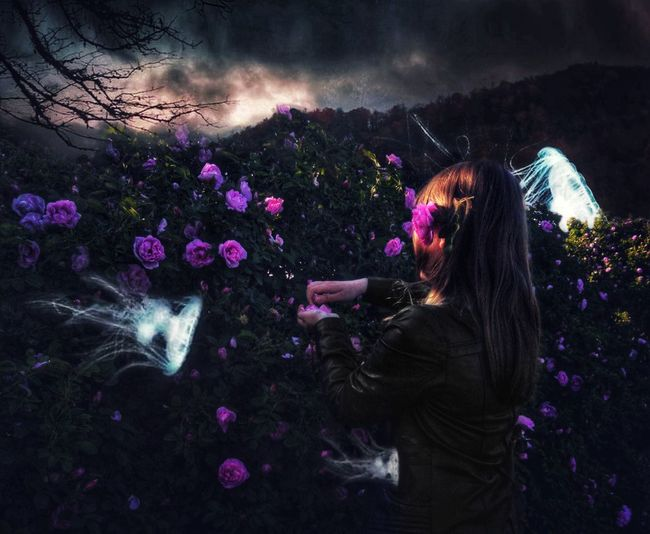 One Person Night Nature Flower Illuminated Plant Flowering Plant Adult Sky Multi Colored Arts Culture And Entertainment Lifestyles Motion Outdoors Celebration Beauty In Nature Leisure Activity Event Long Hair Purple The Creative - 2018 EyeEm Awards