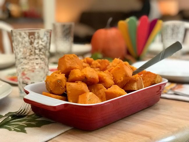 Food And Drink Food Indoors  Table Still Life Bowl Snack Focus On Foreground Close-up Plate No People Freshness Ready-to-eat Fall Food Day Orange Potatoes Pumpkin Background Sweet Potatoes