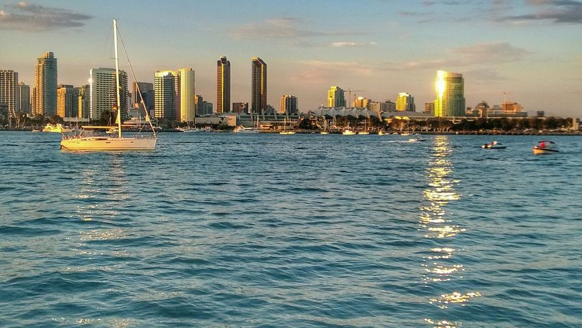 Coronado Island San Diego Downtown San Diego California Boat Water Water Reflection Cityscape