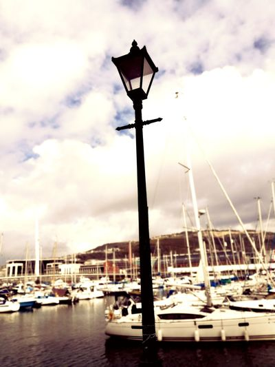 Harbor Water Day Outdoors Lamp Lamp Post Marina Boats Boats⛵️ Walk Swansea City Swansea Student Art Student Life Photo Photography Sky Sunny☀ Art Student Dayout City Live For The Story