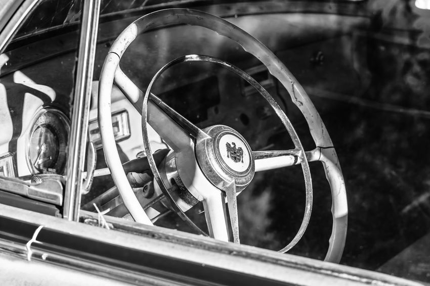 """""""If Only They Could Talk"""" Series 1952 1952 Dodge Meadowbrook Abandoned Abandoned Car Back In The Day Back In Time Black And White Photography Broken Windshield Car Car Interior Classic Classic Car Close-up Dashboard Driver Seat If Only They Could Talk Memory Lane Mode Of Transport Showcase April Steering Wheel The Week On EyeEm Vintage Vintage Cars Where Were You In 1952? Window"""