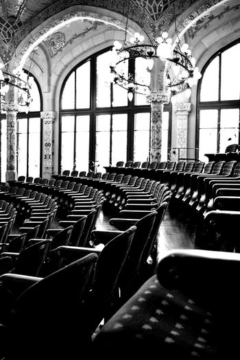 Palau de la Música Catalana Teather Modernism Catalunya Bw_society Bw_collection Solitude And Silence Palau De La Musica Catalana Indoors  Window In A Row No People