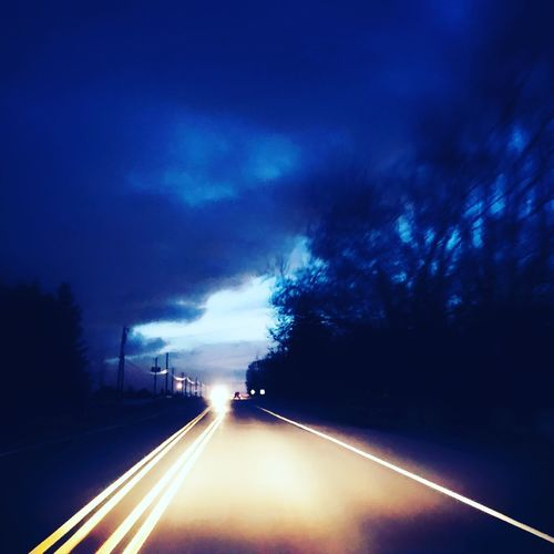View of highway at night