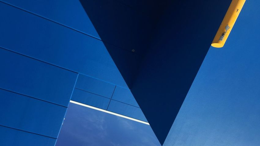 Urban Geometry Blue Low Angle View Architecture No People Built Structure Day Outdoors Sky Clear Sky Building Exterior Modern City Urban Color Urban Landscape The Architect - 2017 EyeEm Awards The Graphic City