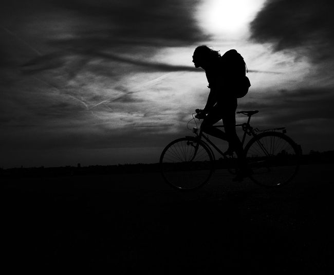Bike Ride Bike Tour Cyclist Sunset Silhouettes Sunset_collection Bicycle Bicycle Tour Bicycling Black And White Bw Cycling Leisure Leisure Activity One Person Riding Riding Bike Silhouette Sky Sports Photography Sunset Transportation Black And White Friday