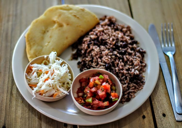 Desayuno #2 Nicaraguense Rice Field Beans Vegetarian Food Vegetable Meat Mexican Food Close-up