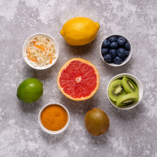 Directly above shot of fruits served on table