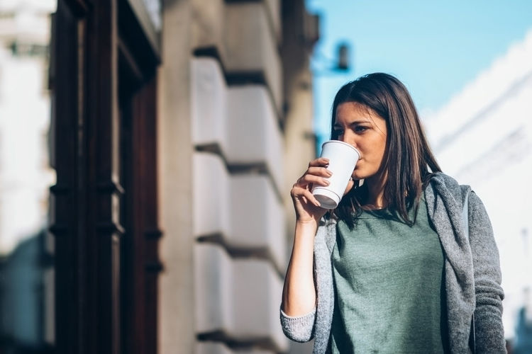 Girl With A Take-Away Coffee In The City Looking Stores And Shopping 20-29 Years 20s Autumn Beautiful City Coffee Dark Hair Horizontal Lifestyle Shopping Urban Scene Woman Young Cute Drink Drinking Long Hair Looking One Person Outdoors Springtime Take Away Coffee Teenager Young Adult