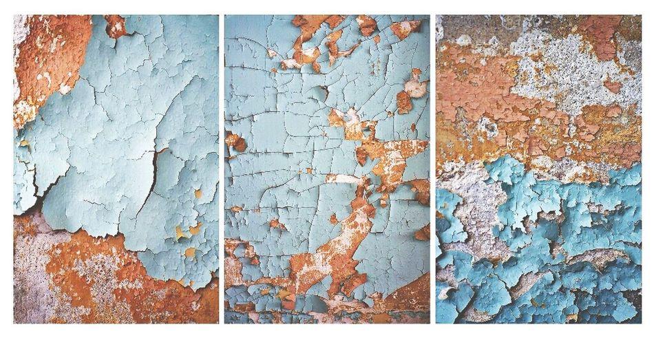 Sanitarium walls. ArchiTexture Abandoned Places Peeling Paint Triptych