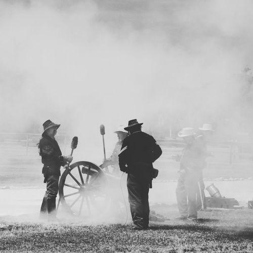 Civil War Cannonfire Smoke Artillery Men Soldiers Reenactment Westtexas