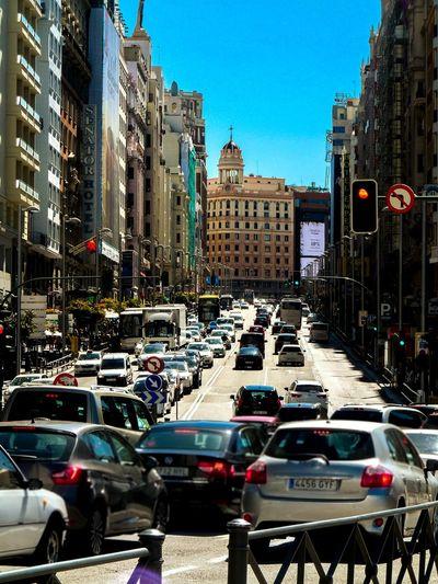 City Life Traffic Building Exterior Car Gran Via, Madrid Lights City Street