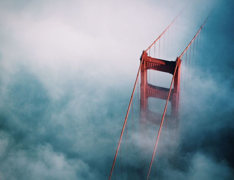Fogged in. Bay Area Bridge Bridges California California Coast Clouds Clouds And Sky Famous Place Fog Foggy Golden Golden Gate Bridge Golden Hour Iconic Landmark Marine Layer Norcal Ocean San Francisco San Francisco Bay Sunset Tourism Water Fresh On Market 2016