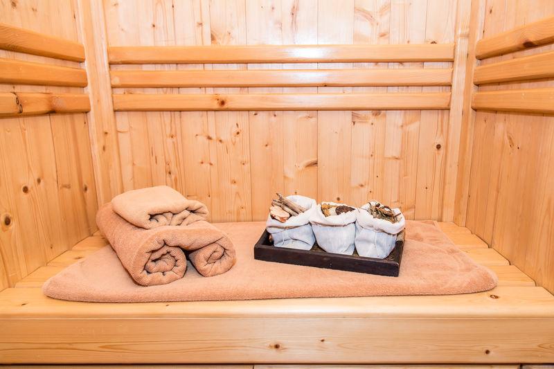 Rolled towels in sauna