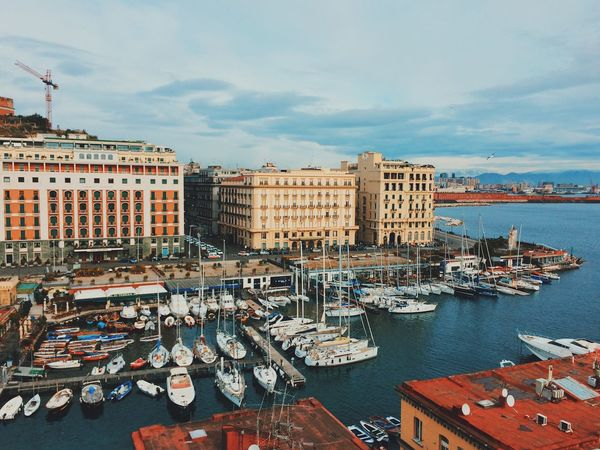 Castel dell'Ovo view Travel Naples Italy Sky Transportation Nautical Vessel Building Exterior Mode Of Transport Moored Architecture Water City Outdoors Day No People First Eyeem Photo