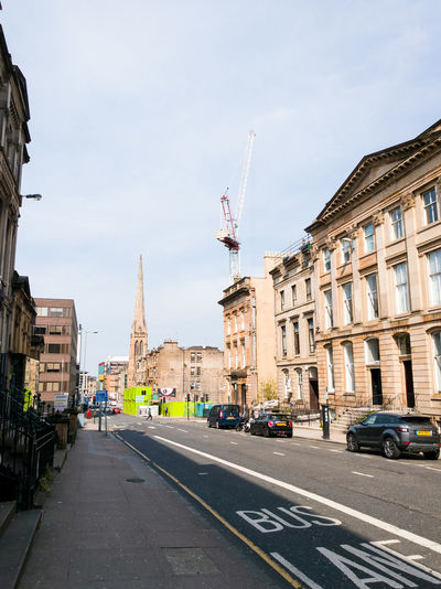 GLASGOW CITY Glasgow  Bath Street Buildings Architecture Road Portakabin Construction Crane Tower Church Steeple Road Marking Cars Shops Business Crossing Road