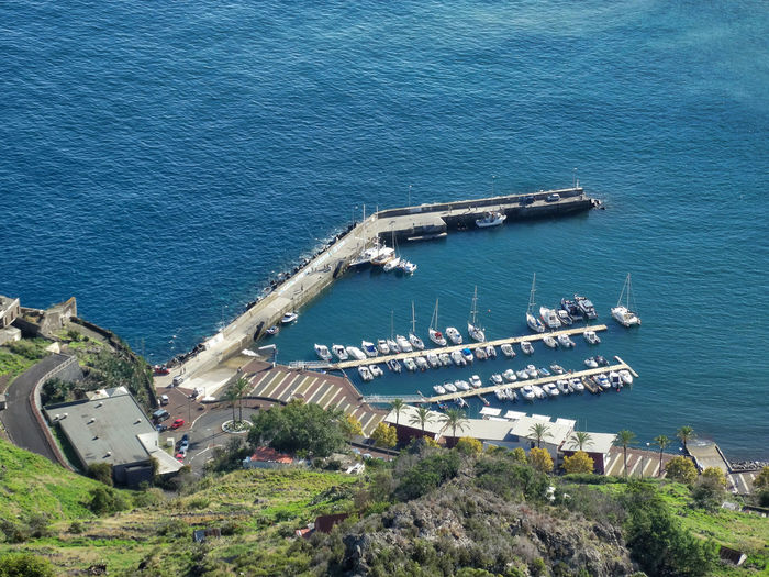 Looking down onto boat scene. Water Sea High Angle View Transportation Nautical Vessel Architecture Day Nature Mode Of Transportation Building Exterior Built Structure Ship Outdoors No People Navy Blue Military Motion Shipping  Sailboat Pier Jetty Port